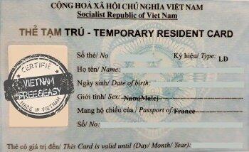 Carte de résidence au Vietnam pour expatriés