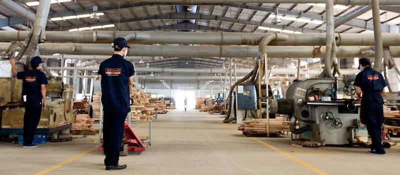Factory of wood furniture in Binh Duong in Vietnam