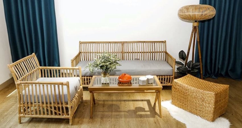 rattan table chair and housing from Vietnam